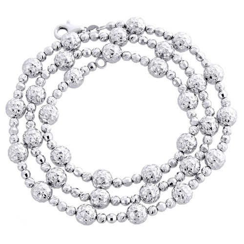 14KT White Gold 6mm Candy / Moon Cut Italian Bead Chain Necklace 20 Inches