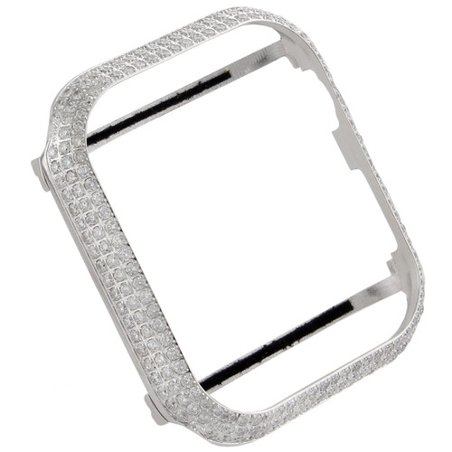 Apple Watch Series 4 Stainless Steel 44mm Sport Bezel Genuine Diamond Case 4 CT.