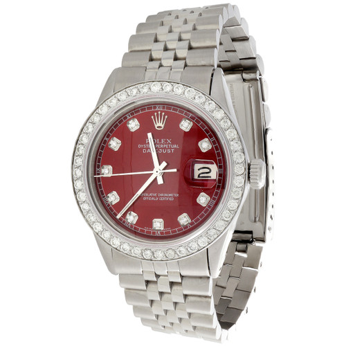 Mens Rolex 36mm DateJust 16014 Diamond Watch Jubilee Band Custom Red Dial 2 CT.