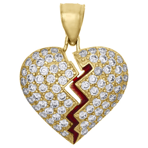 "10K Yellow Gold Heart Break Red Enamel Break / Split Pendant 0.85"" Pave CZ Charm"