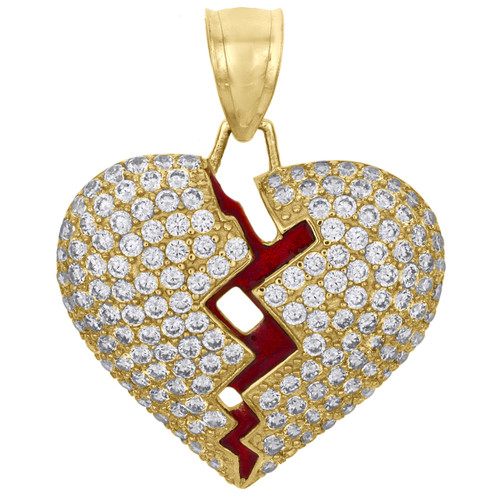 "10K Yellow Gold Heart Break Red Enamel Break / Split Pendant 1.15"" Pave CZ Charm"