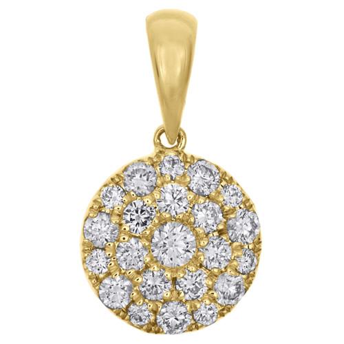 "10K Yellow Gold Ladies Diamond Circle Cluster Pendant 0.75"" Fancy Charm  3/4 CT."