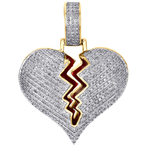 "10K Yellow Gold Diamond Shattered Broken Heart Love Pendant 1.5"" Pave Charm 1 CT"