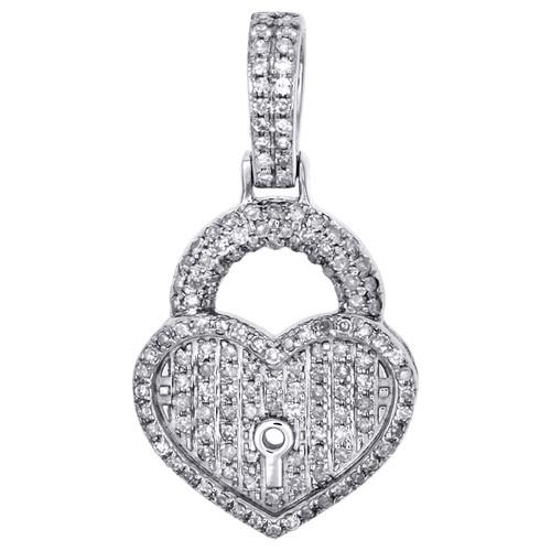 "10K White Gold Ladies Diamond Key to Heart Pendant 1.05"" Pave Love Charm 1/2 CT"