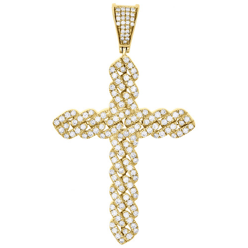 "14K Yellow Gold Real Diamond Miami Cuban Link Cross Pendant 2.25"" Charm 1.58 CT."