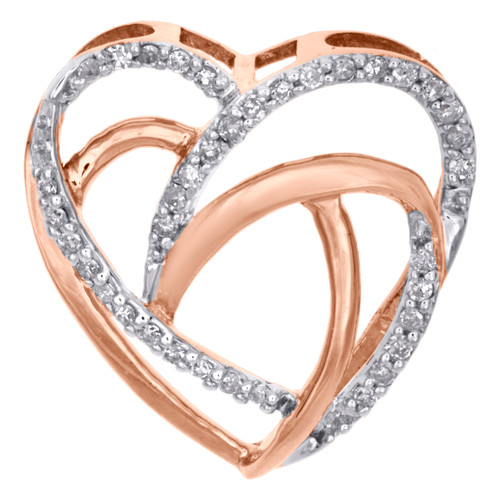 "10K Rose Gold Diamond Intertwined Cut Out Heart Slide Pendant 0.60"" Long 0.10 CT"