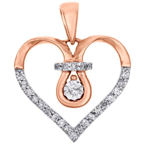 "10K Rose Gold Round Diamond Open Heart Pendant Love Charm 0.70"" Long 0.12 CT."