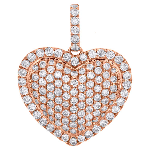 "14K Rose Gold Round Diamond Domed Heart Pendant Love Charm 0.90"" Long 1.25 CT."