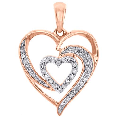 "10K Rose Gold Diamond Swirl Double Heart Pendant Love Charm 0.85"" Long 0.16 CT."