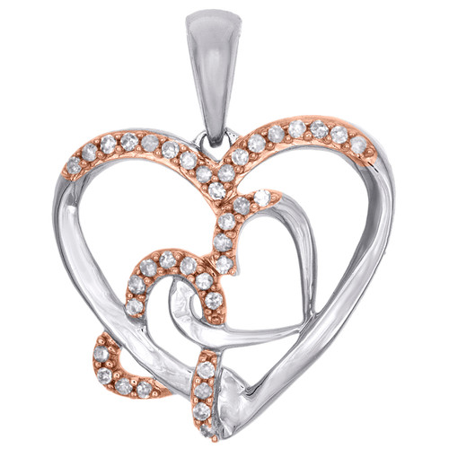 10K Two Tone Gold Round Diamond Triple Heart Pendant Cut Out Charm 0.16 CT.