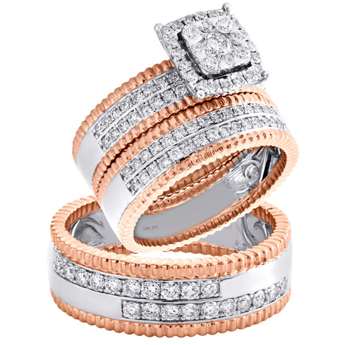 14K Two Tone Gold Diamond Flower Halo Bridal Set + Wedding Bands Trio Set 1.5 CT