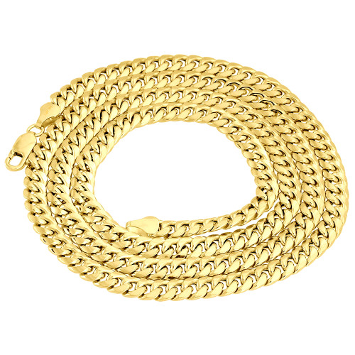 """18K Yellow Gold 6mm Mens Solid Miami Cuban Link Chain 22"""" Necklace Lobster Clasp"""