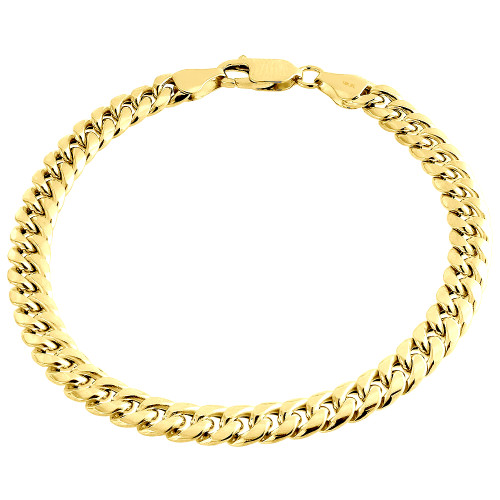 Mens 18K  Yellow Gold 6mm Solid Miami Cuban Link Fancy Bracelet Lobster Clasp 8""