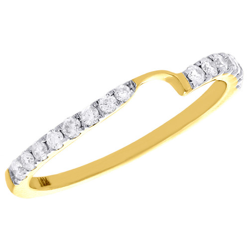 14K Yellow Gold Two Stone Love & Friendship Diamond Ring Engagement Band 1/4 Ct.
