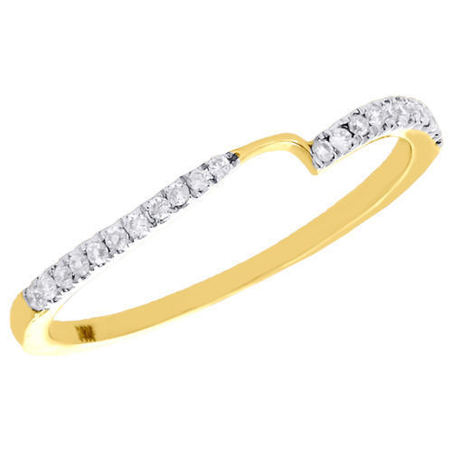14K Yellow Gold Two Stone Love & Friendship Diamond Ring Engagement Band 1/8 Ct.