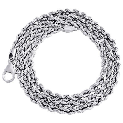 10K White Gold 3.25mm Semi Solid Diamond Cut Rope Link Chain Necklace 18-24 Inch
