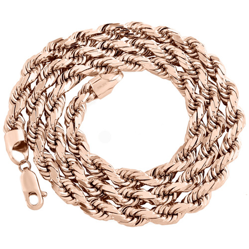 """10K Rose Gold Solid 6mm Diamond Cut Rope Link Chain Shiny Statement Necklace 22"""""""