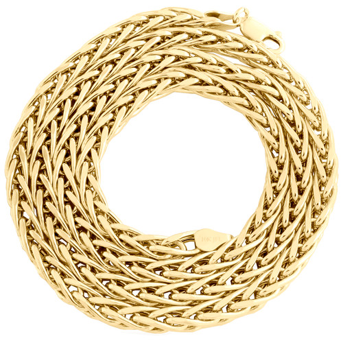 10K Yellow Gold 4.50mm Hollow Palm Wheat Chain Rounded Necklace 24 - 30 Inch