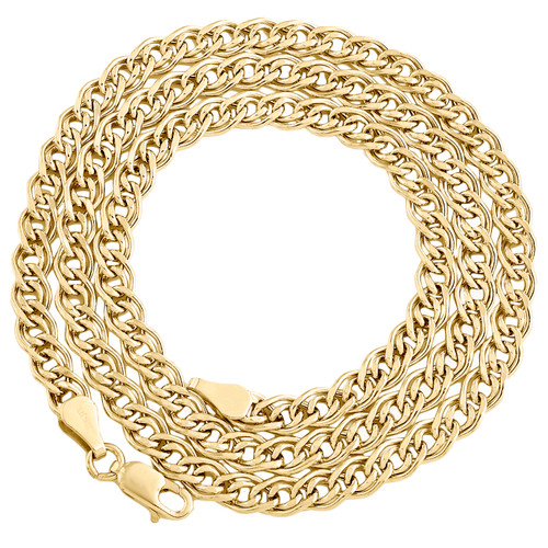 10K Yellow Gold 4.80mm Double Cuban Curb Italian Link Chain Necklace 18-26 Inch