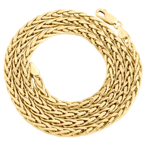 Real 10K Yellow Gold 4mm Hollow Palm Wheat Chain Rounded Necklace 22 - 30 Inch