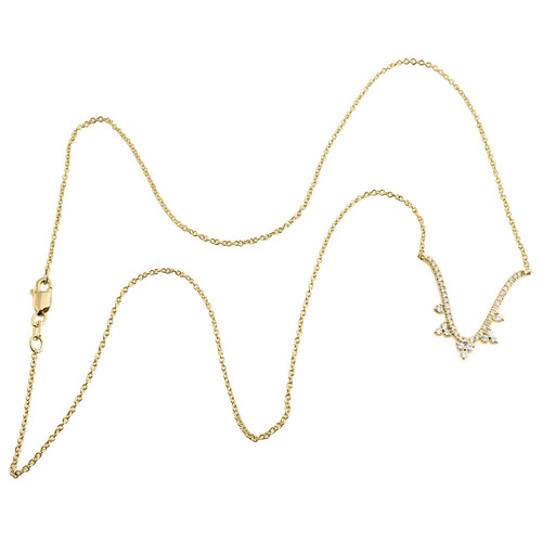 "14K Yellow Gold Diamond Contured U Dangler Pendant 17"" Cable Necklace 0.25 CT."