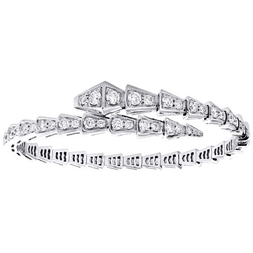 18K White Gold Diamond One-Coil Serpenti Slim Bracelet 20cm Snake Bangle 2.86 CT