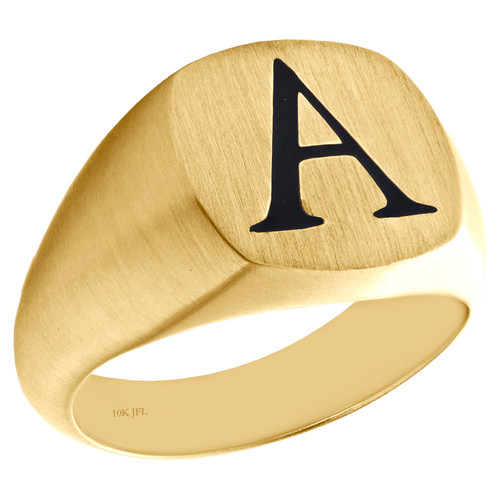 Solid 10K Yellow Gold Initial Letter A  Statement Pinky Signet Ring 14.50mm Band