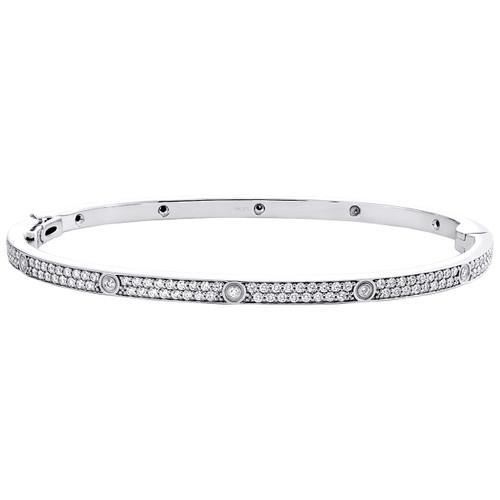 14K White Gold Genuine Round Diamond Small 3.60mm Bracelet 21cm Bangle 1.95 CT.