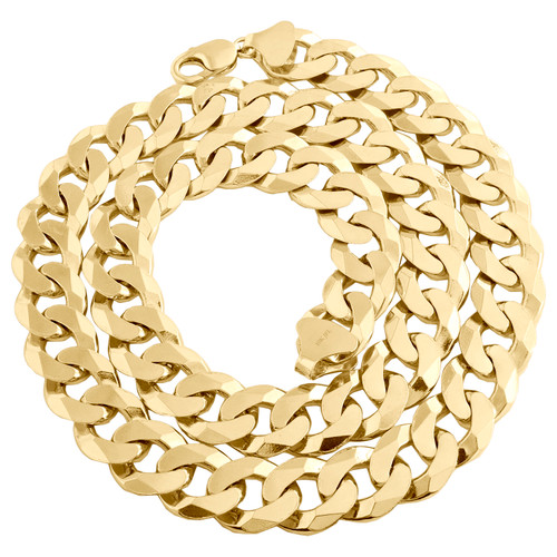 10K Yellow Gold 16mm Solid Plain Cuban Curb Link Chain Mens Necklace 24-30 Inch