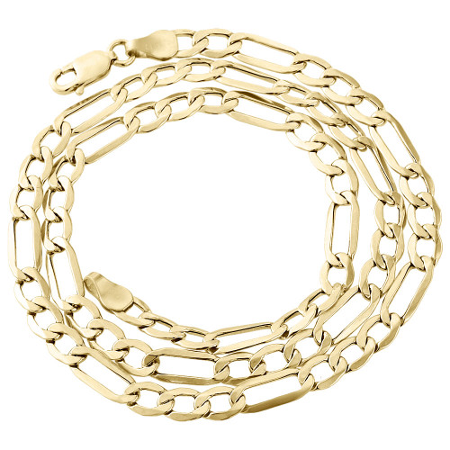 Real 10K Yellow Gold Solid Figaro Chain 5mm Necklace Lobster Clasp 16-30 Inch