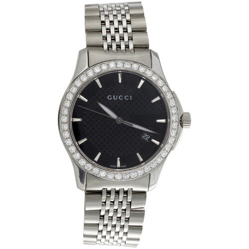 Gucci Ya126402 Diamond Watch Black Dial G-Timeless 38mm Stainless Steel 2 CT.
