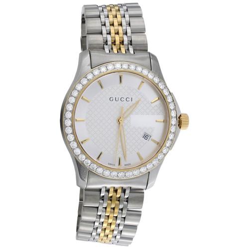 Gucci Ya126409 Diamond Watch G-Timeless 38mm Two Tone Yellow S. Steel PVD 2 CT.