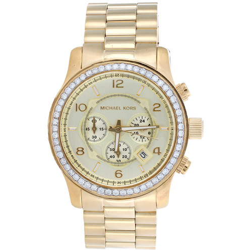 Michael Kors Oversized Runway MK8077 Diamond Watch 45mm Stainless Steel 1.95 CT.