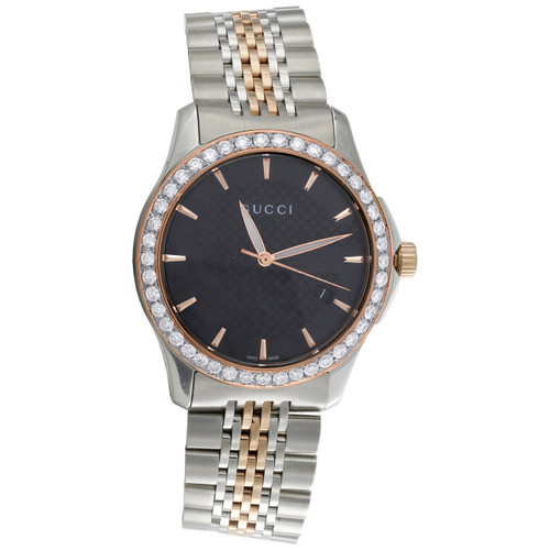 Gucci Ya126410 Diamond Watch G-Timeless 38mm Two Tone Rose / S. Steel PVD 2 CT.
