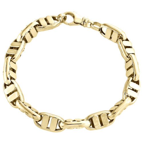 "Solid 14K Yellow Gold 9.50mm Fancy Statement Link Mens Italian Made Bracelet 9"""