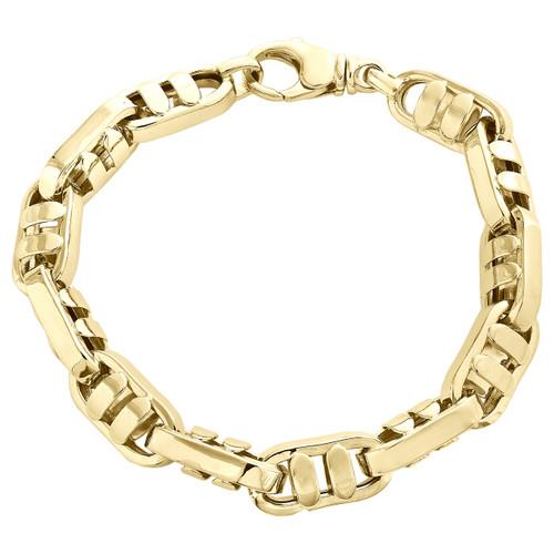 "Solid 14K Yellow Gold 10mm Fancy Statement Link Mens Italian Made Bracelet 9"""
