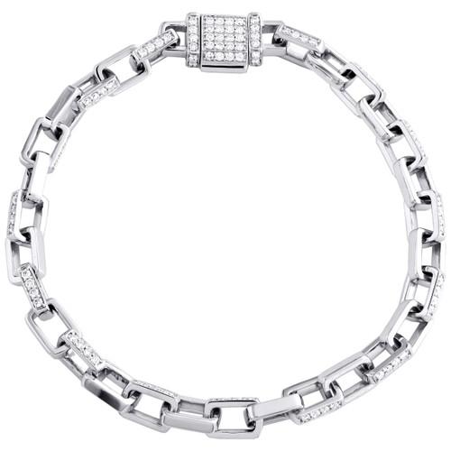 """10K White Gold Diamond Rectangle 5.75mm Fancy Link 8"""" Mens Bracelet 1.83 CT."""