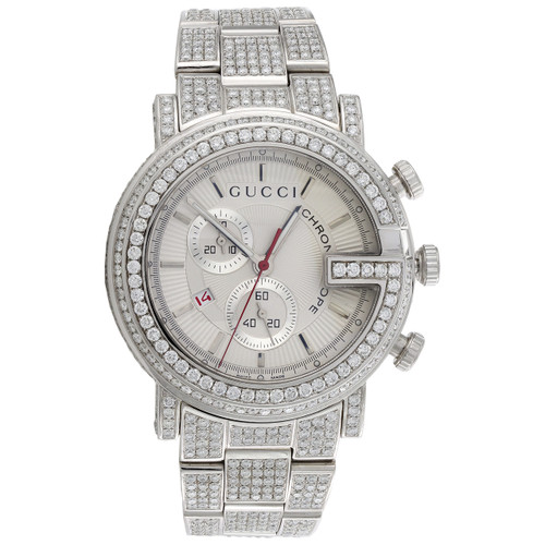 Mens Custom Diamond Gucci 101 G Watch Ya101339 White Dial 44mm Chronograph 15 CT