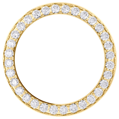 14K Yellow Gold Bead Set Diamond Bezel For 26mm Rolex DateJust Watch 1.35 CT.