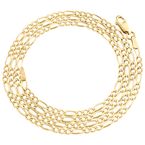 10K Yellow Gold Plain Solid Figaro Chain 2mm Necklace Lobster Clasp 16 - 24 Inch