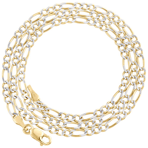 10K Yellow Gold Solid Diamond Cut Figaro Chain 2.50mm Necklace 16 - 24 Inches