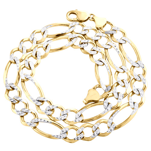10K Yellow Gold Solid Diamond Cut Figaro Chain 11.50mm Necklace 22 - 30 Inches