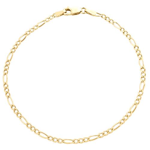 10K Yellow Gold Unisex 2mm Plain Solid Figaro Link Bracelet / Anklet 7 - 10 Inch
