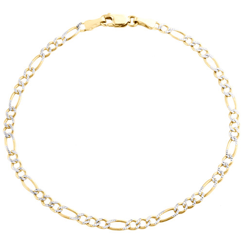 10K Yellow Gold 2.60mm Diamond Cut Solid Figaro Link Bracelet / Anklet 7-10 Inch