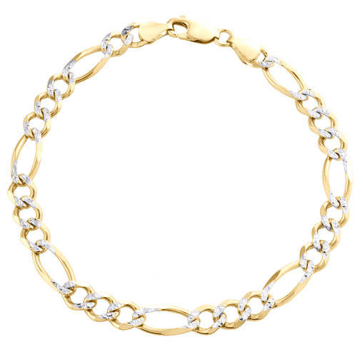 Mens 10K Yellow Gold 6.50mm Diamond Cut Solid Figaro Link Bracelet 7 - 9 Inches