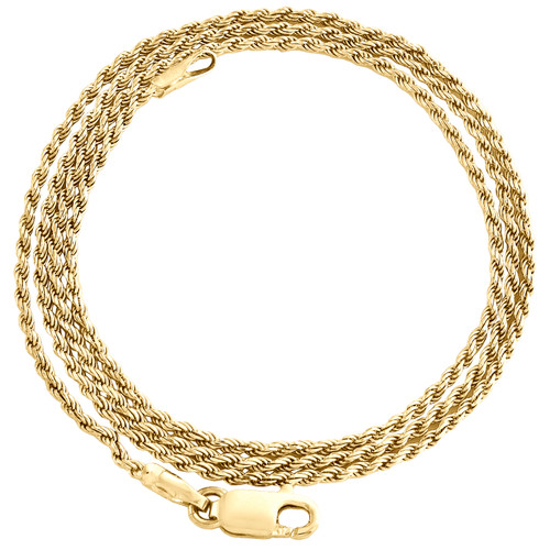10K Yellow Gold 1mm Diamond Cut Solid Rope Link Chain Shiny Necklace 16-30 Inch