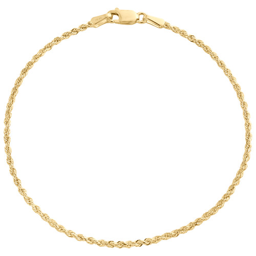 10K Yellow Gold 1.50mm Solid Diamond Cut Rope Link Bracelet / Anklet 7 - 10 Inch