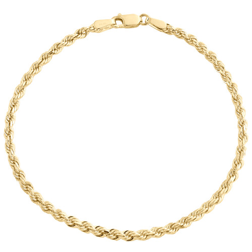 10K Yellow Gold 2.50mm Solid Diamond Cut Rope Link Bracelet / Anklet 7 - 8 Inch
