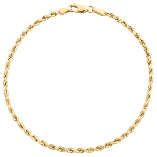 10K Yellow Gold 2mm Solid Diamond Cut Rope Link Bracelet / Anklet 7 - 9 Inch