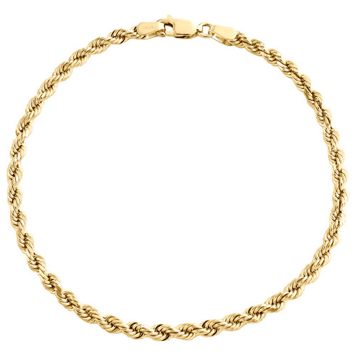 10K Yellow Gold 3mm Solid Diamond Cut Rope Link Bracelet / Anklet 8 - 9 Inches
